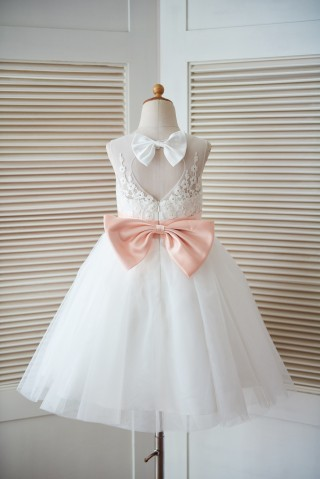 Ivory Lace Tulle Keyhole Back Wedding Flower Girl Dress with Blush Pink Bow