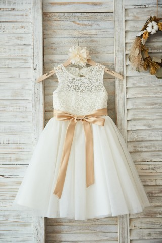 Ivory Lace Tulle Wedding Flower Girl Dress with Keyhole Back/Champagne Belt