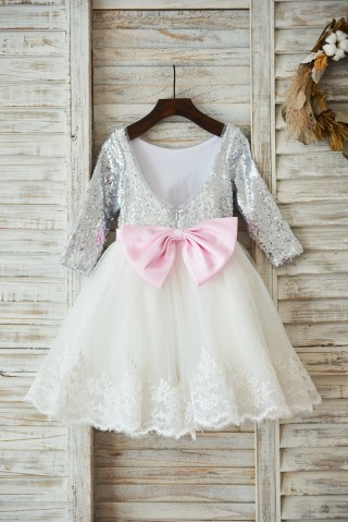Long Sleeves Silver Sequin Ivory Lace Tulle Deep V Back Wedding Flower Girl Dress Holiday Party Dress