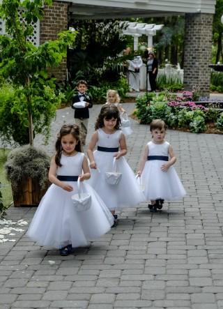 Satin Top Tulle Skirt Flower Girl Dress w/ Belt Designed by Ben Huber