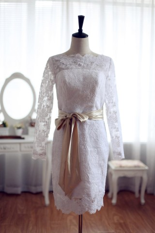 Modest Long Sleeves Short Lace Bridal Dress w/ Open V-back & Satin Sash Ribbon