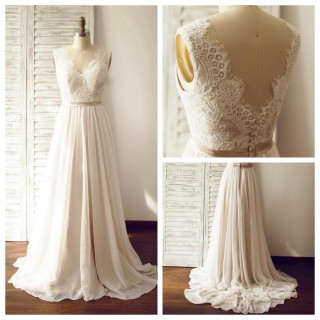 A Line Ivory Lace Chiffon V Neck Wedding Dress with Chapel train/Champagne Lining