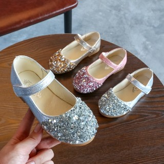 Gold/Silver/Pink Leather Sequins Flower Girl Shoes Kids Baby Girl Princess Shoes