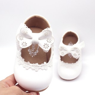 Ivory/Black/Pink Bowtie Cute Leather Flat Baby Girl Shoes Wedding Flower Girl Shoes