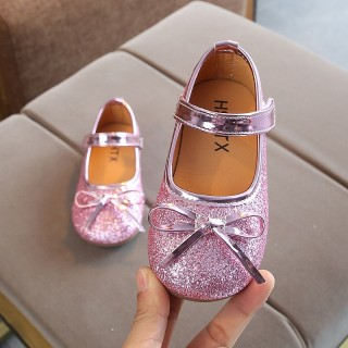 Gold/Silver/Pink Sequin Bow Princess Shoes Kids Flat Sandals Wedding Flower Girl Shoes