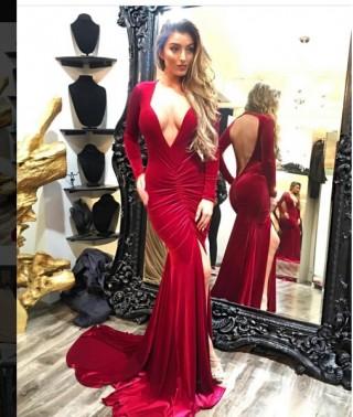 Mermaid Burgundy Velvet V Neck Keyhole Back Wedding Prom Evening Party Dress