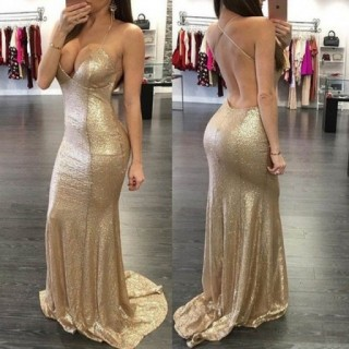 Champagne Sequin Straps Backless Wedding Prom Evening Party Dress