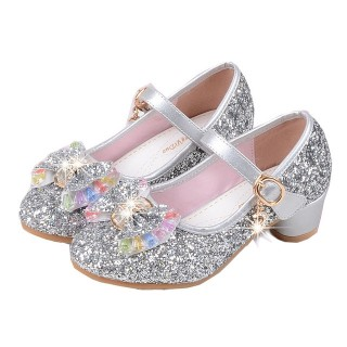 Silver/Gold/Pink Sequin Glitter Leather Wedding Princess Flower Girl Shoes Baby Kids Party Shoes
