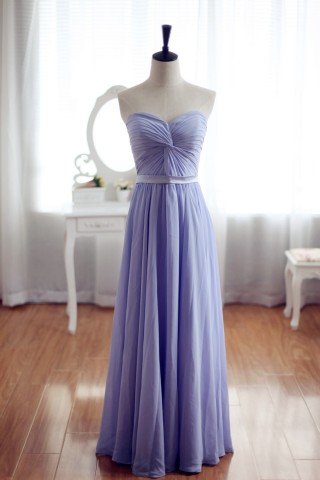 Simple Sleeveless Strapless Chiffon Gown for Brides Bridesmaids Dress