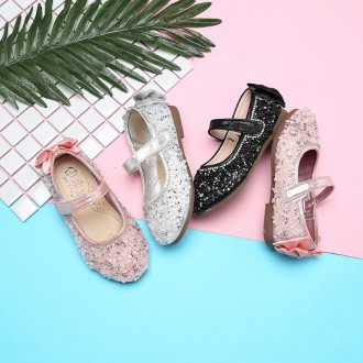 Princessly.com-K1003937-Black/Silver/Pink Crystal Bow Sandals Flower Girl Shoes Baby Girl Wedding Princess Shoes-20