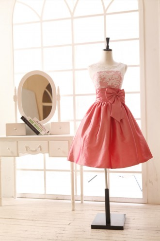Princessly.com-K1001958-Coral Lace Taffeta Bridesmaid Dress in knee Short Length-20