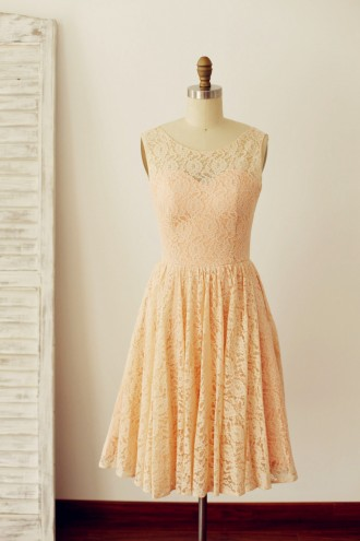 Princessly.com-K1000216-Peach Pink Lace Deep V Back Short Bridesmaid Dress with bow-20
