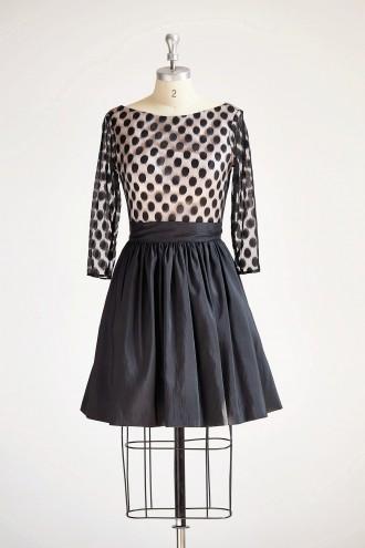 Princessly.com-K1000313-Long Sleeves V Neck Polka Dots Tulle Black Taffeta Short Wedding Bridesmaid Party Dress-20