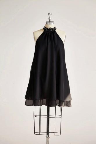 Princessly.com-K1000317 Black Chiffon High Neck Beaded Short Bridesmaid Dress-20