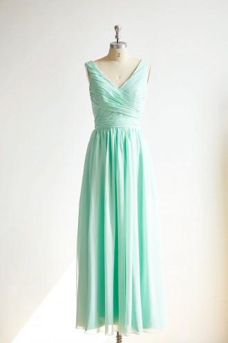 Princessly.com-K1000298-V Neck Mint Blue Chiffon Long Wedding Bridesmaid Dress-20