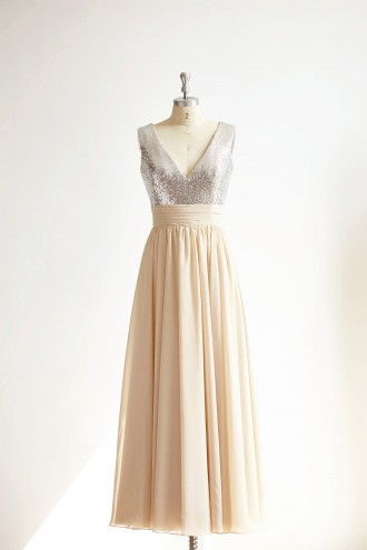 Princessly.com-K1000296-V Neck Silver Sequin Champagne Chiffon Long Bridesmaid Dress Wedding Party Dress-20