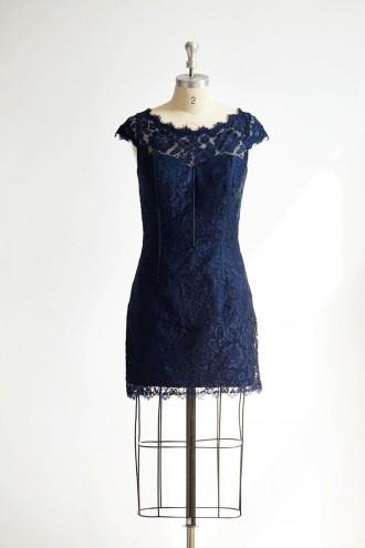 Princessly.com-K1000303-Cap Sleeves Keyhole Back Navy Blue Lace Short Knee Wedding Bridesmaid Dress-20