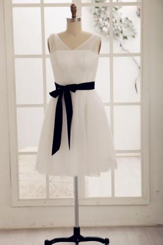 Princessly.com-K1000064-Simple V Neck Tulle Short Knee Length Bridesmaid Dress-20