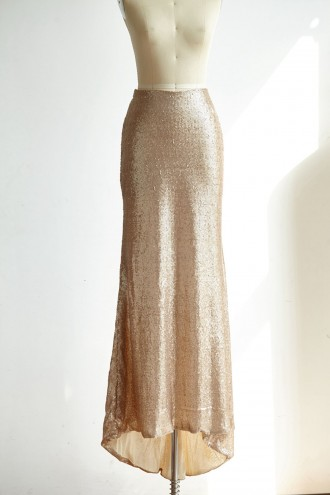Princessly.com-K1000310-Matte Champagne Gold Long Sequin Fitted Skirt /Wedding Bridesmaid Skirt-20