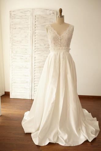 Princessly.com-K1000059-Deep V Back Lace Satin Wedding Dress Bridal Gown-20