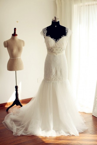 Princessly.com-K1000237-Cap Sleeves Ivory Lace Tulle Mermaid Wedding Dress-20