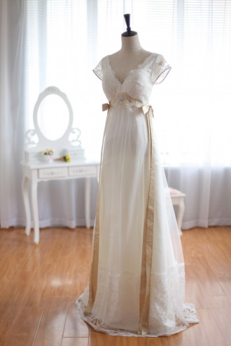 Princessly.com-K1001931-Vintage Inspired Lace Tulle Wedding Dress Deep V Back with Cap Sleeves Maternity Dress-20