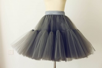 Princessly.com-K1000270-Grey Tulle Skirt/Short Woman Skirt-20