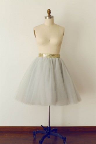 Princessly.com-K1000269-Grey Tulle Sequin Skirt/Short Woman Skirt-20