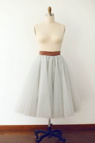 Princessly.com-K1000279-Silver Grey Tulle Skirt/Short Woman Skirt-20