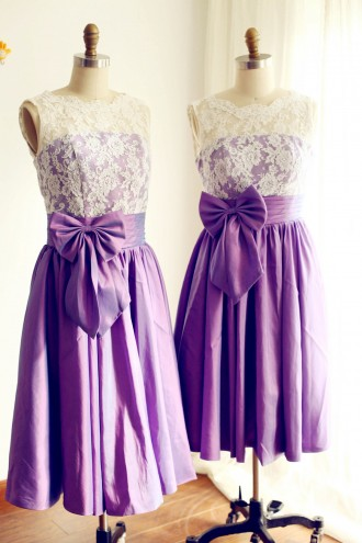 Princessly.com-K1000222-V Back Ivory Lace /Purple Taffeta Tea Length Short Bridesmaid Dress-20