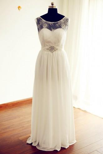 Princessly.com-K1000226-Sheer See Through Ivory Lace Chiffon V Back Wedding Dress-20