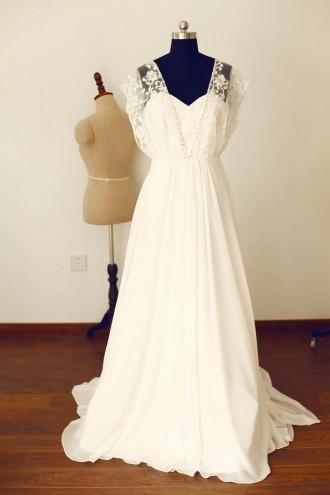 Princessly.com-K1000245-Boho Beach Short Sleeves Ivory Lace Chiffon Long Wedding Dress-20