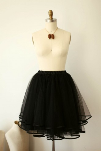 Princessly.com-K1000285-Black Tulle Satin Edge Skirt/Short Woman Skirt-20