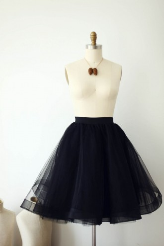 Princessly.com-K1000287-Black Horsehair Tulle Skirt/Short Women Skirt-20