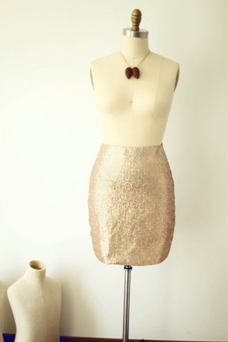 Princessly.com-K1000282-Matte Champagne Gold Sequin Fitted Skirt-20