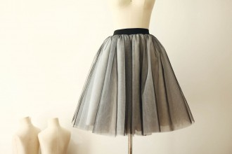 Princessly.com-K1000259-Black Tulle Ivory Lining TUTU Skirt/Short Women Skirt-20