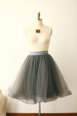 Princessly.com-K1000262-Silver Gray Tulle Skirt/Short Woman Skirt-20