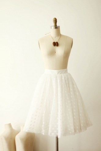 Princessly.com-K1000264-Ivory Polka Dot Tulle TUTU Skirt/Short Women Skirt-20