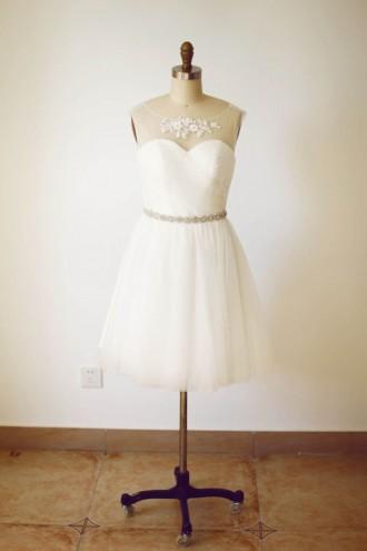 Princessly.com-K1000234-Sheer Neck Ivory Tulle V Back Short Bridesmaid Dress with beaded sash-20