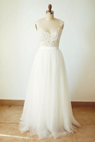 Princessly.com-K1000250-Sheer Tulle Lace Tulle Wedding Dress V Back Bridal Gown-20