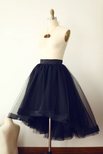 Princessly.com-K1000278-Black Tulle High Low Tulle Skirt/Short Woman Skirt-20