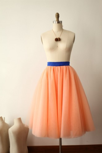 Princessly.com-K1000275-Coral Tulle Skirt/Short Woman Skirt-20