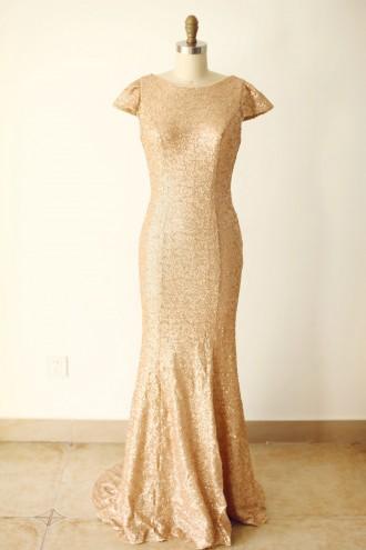 Princessly.com-K1000244-Cap Sleeves Champagne Gold Sequin V Back Long Wedding Bridesmaid Dress-20