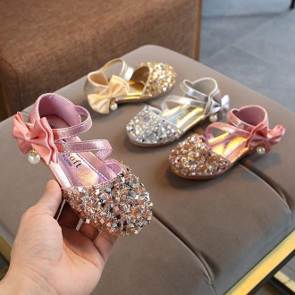 Princessly.com-K1003947-Silver/Gold/Pink Bow Leather Sequin Sandals Baby Dancing Shoes Flower Girl Shoes-20
