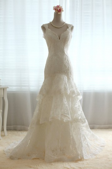 A-line V-neck Drop Waist Open Back Three-tiers Corded Lace Court Wedding Dress