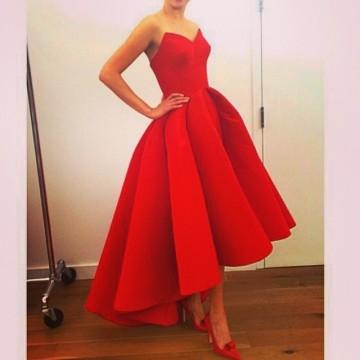 Princessly.com-K1004099 Red Satin HI-Low Wedding Prom Evening Party Dress-20