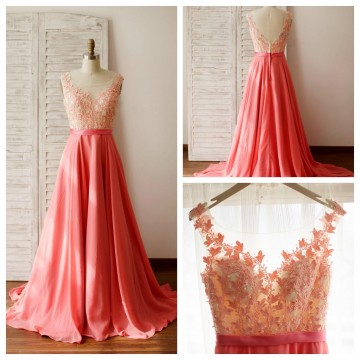 Princessly.com-K1003263-A Line Coral Chiffon Lace Illusion V Back Prom Evening Dress with Chapel Train-20