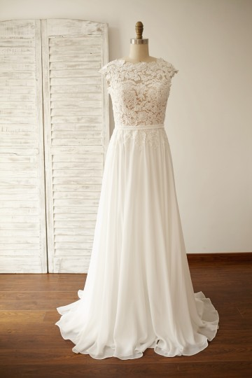 Princessly.com-K1000053-Vintage Deep V Back Lace Chiffon Wedding Dress-20