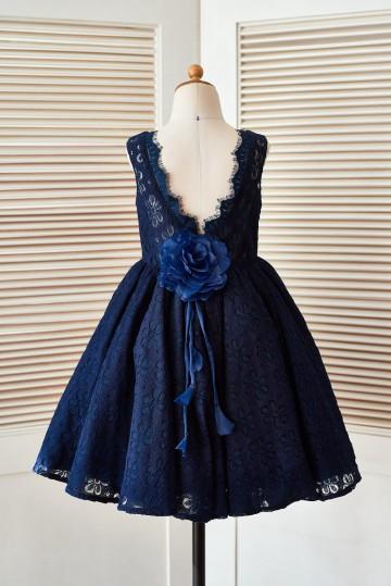 Princessly.com-K1003397 Deep V Back Navy Blue Lace Wedding Flower Girl Dress with Flower-20