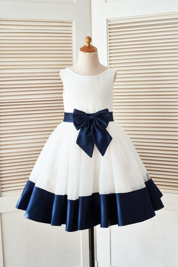 Princessly.com-K1003398-Ivory Satin Tulle Flower Girl Dress with Navy Blue Belt\Bow-20